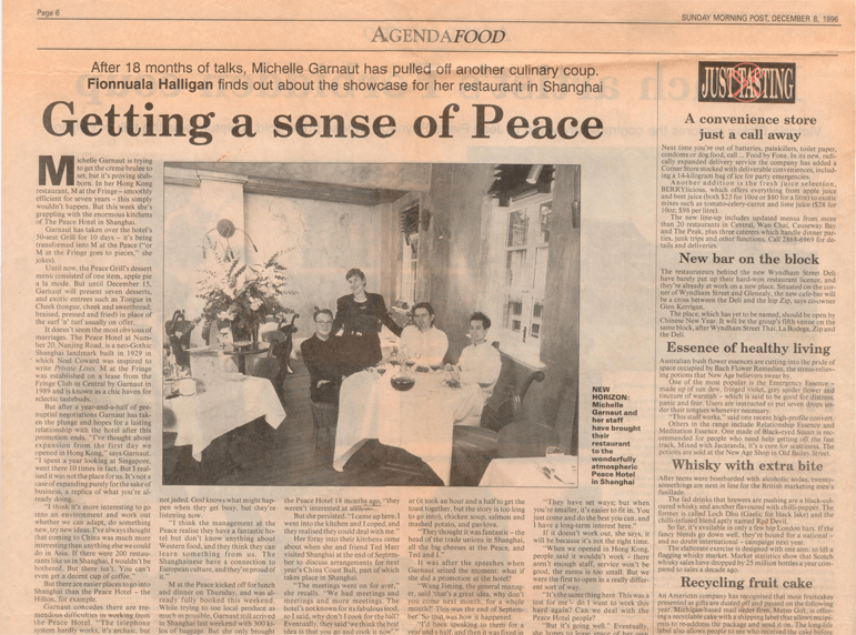"""M at the Peace"" Sunday Morning Post article, December 8, 1996"